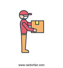 delivery man standing and holding a package icon, line and fill style