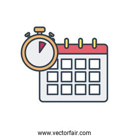calendar and chronometer icon, line and fill style