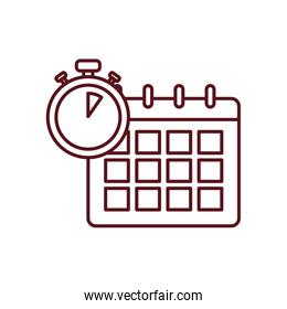 calendar and chronometer icon, line style