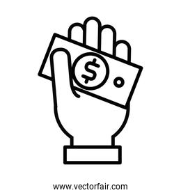 hand with bill money dollar line style icon