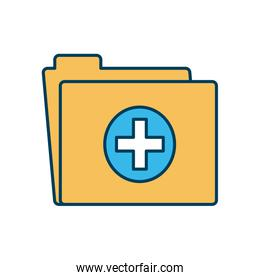 medical report folder icon, line and fill style