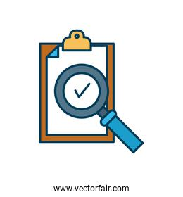 clipboard with check symbol and magnifying glass icon, line and fill style