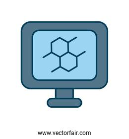 monitor with science bond icon on screen, line and fill style