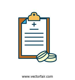 medical report and pills icon, line and fill style