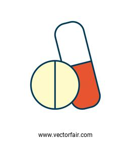 medicine pill and capsule icon, line and fill style