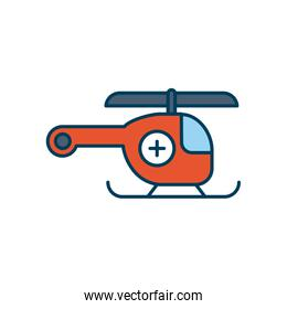 medical helicopter icon, line and fill style