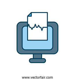 computer with medical report document icon, line and fill style