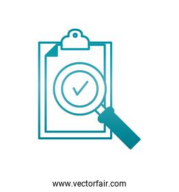 clipboard with check symbol and magnifying glass icon, gradient style