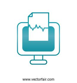 computer with medical report document icon, gradient style