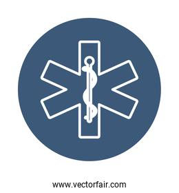 medical emergency symbol icon, block style