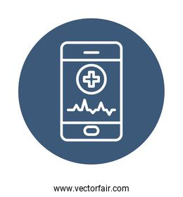 smartphone with medical app icon, block style
