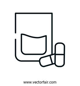 water glass and medicine capcules icon, line style