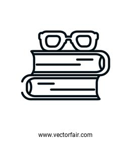 academic books and glasses icon, line style