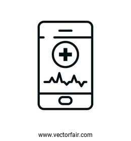 smartphone with medical app icon, line style