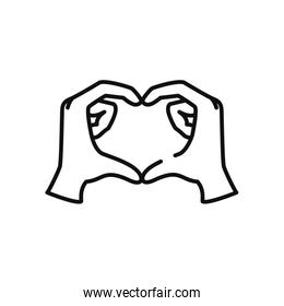 hands making heart icon, line style