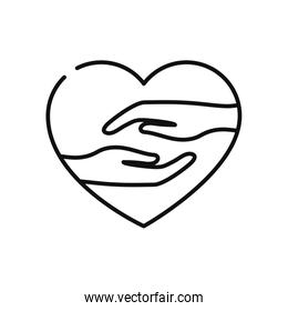 charity and donation concept, heart with solidarity hands, line style