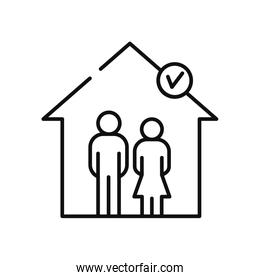 pictogram couple safe inside the house icon, line style