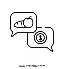 humanitarian aid concept, speech bubbles with food and money coin, line style