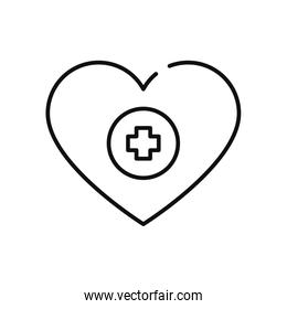 charity and donation concept, heart with medical cross icon, line style