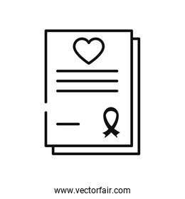 charity aids report with heart and ribbon icons, line style