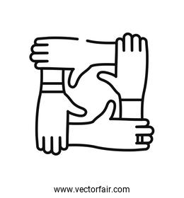 charity hands symbol icon, line style