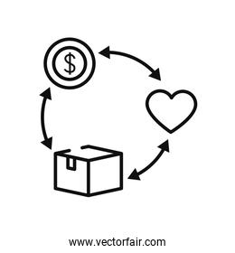charity and donation concept, line aid cycle with money, heart and box icon, silhouette style