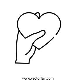 humanitarian aid concept, hand holding a heart icon, line style