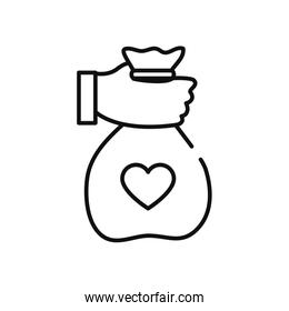 humanitarian aid concept, hand holding a charity bag icon, line style