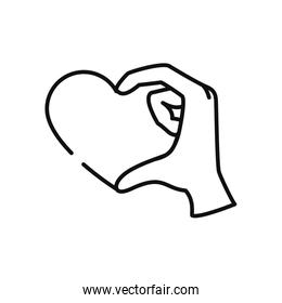 charity and donation concept, hand with heart icon, line style