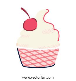 delicious cupcake with cherry icon