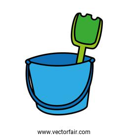 bucket with tools to play on white background