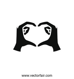 hands making heart icon, silhouette style