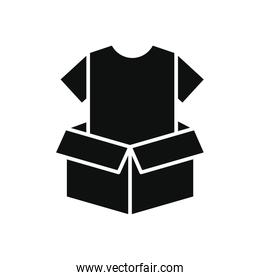 charity and donation concept, box with clothes icon, silhouette style