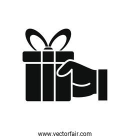 hand holding a gift box icon, silhouette style