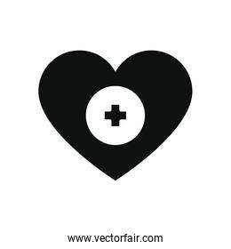 charity and donation concept, heart with medical cross icon, silhouette style