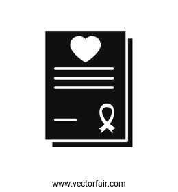 charity aids report with heart and ribbon icons, silhouette style