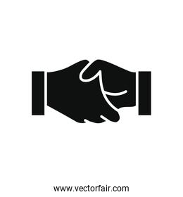 charity and donation concept, handshaking symbol icon, silhouette style