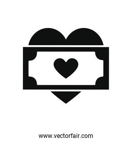 charity aids concept, heart with money bill icon, silhouette style