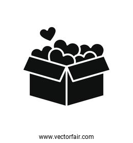 charity box full of hearts icon, silhouette style