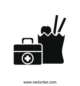 humanitarian aid concept, first aid box and bag with groceries icon, silhouette style