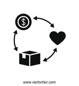 charity and donation concept, charity aid cycle with money, heart and box icon, silhouette style