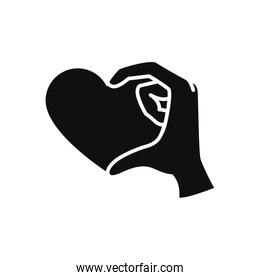 charity and donation concept, hand with heart icon, silhouette style