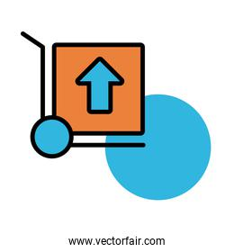 box carton delivery in cart line and fill style icon