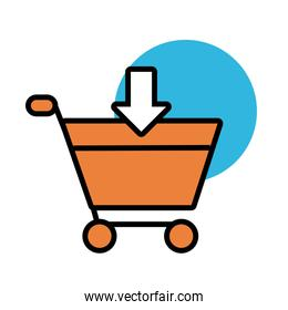 shopping cart with arrow down line and fill style design