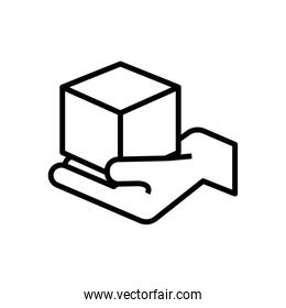 hand lifting box carton delivery line style icon