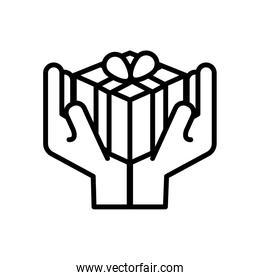hands lifting gift box present line style icon