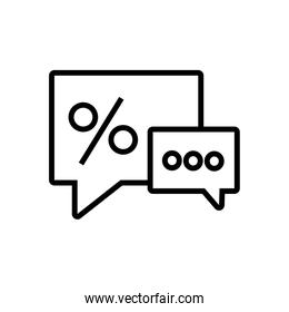 speech bubble with percent symbol line style icon