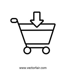 shopping cart with arrow down linear style icon