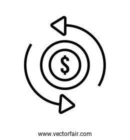 coin money dollar with arrows line style icon