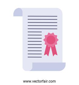 graduation certificate flat style icon